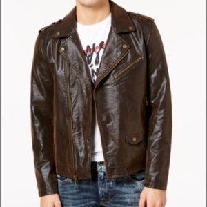Guess Men's Brown Suede Moto Jacket